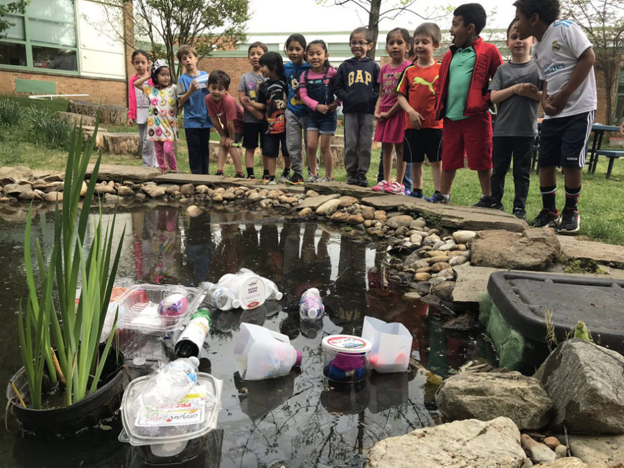 students observe plastic in school pond